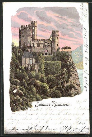 Lithographie Schloss Rheinstein, Gesamtansicht