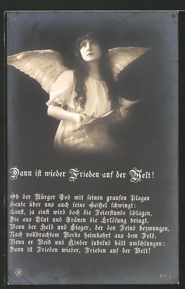 AK Dann ist wieder Frieden auf der Welt!, Ob der Würger Tod..., Friedensbewegung, Engel