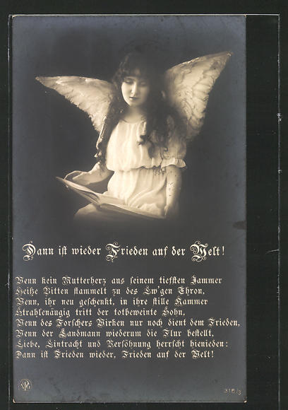 AK Dann ist wieder Frieden auf der Welt!, Wenn kein Mutterherz..., Friedensbewegung, Engel