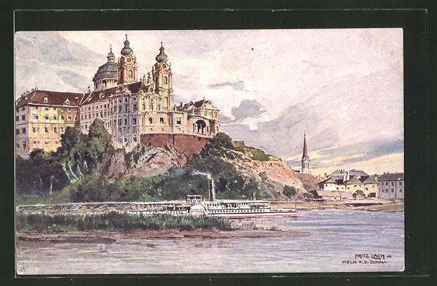 Künstler-AK Fritz Lach: Melk a. d. Donau, Blick zum Stift