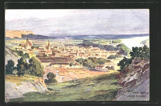 Künstler-AK Fritz Lach: Krems a. Donau, Panoramablick auf die Stadt