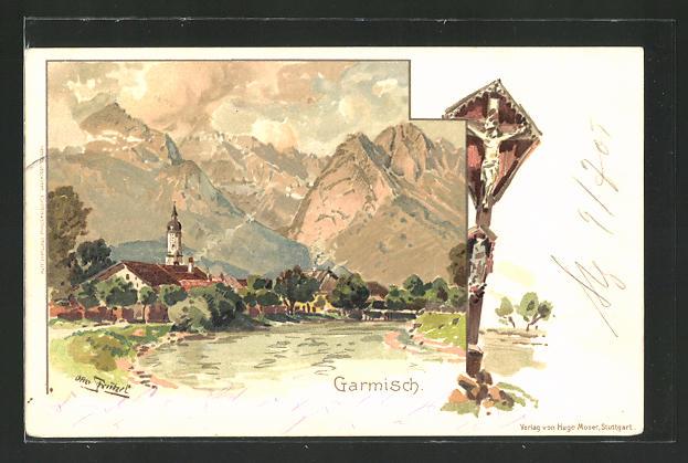 Künstler-AK Otto Strützel: Garmisch, Ortsansicht, Wegkreuz