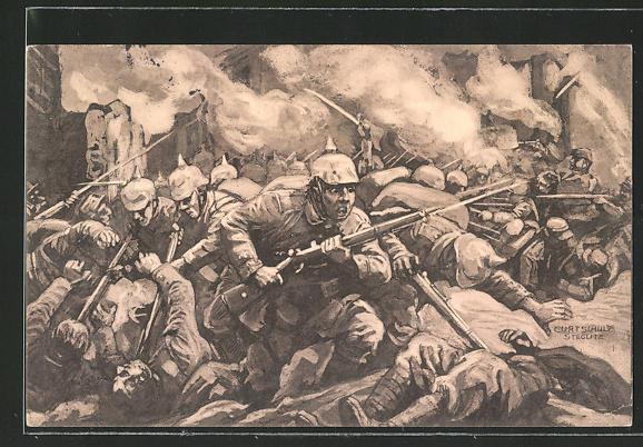 Künstler-AK Curt Schulz-Steglitz: Soldaten im Schlachtgetümmel, der grosse Krieg 1914 /15