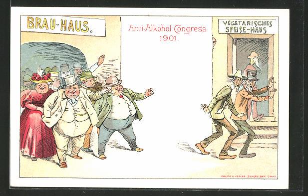Lithographie Graz, Anti-Alkohol Kongress 1901, Gäste des Brauhauses machen sich lustig über die Vegetarier