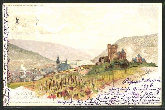 Künstler-AK P. Schmohl: Bingen, Ortsansicht mit Schloss Klopp