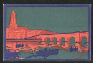 Künstler-AK Ganzsache PP27C149 /02: Frankfurt, Grundsteinlegung zum Neubau der alten Mainbrücke 21.5.1912
