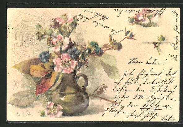Künstler-AK Clara von Sivers: Vase mit Blumen und Spinnennetz