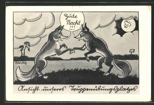 Künstler-AK Ferdinand Barlog: Füchse sagen sich auf einem Truppenübungsplatz