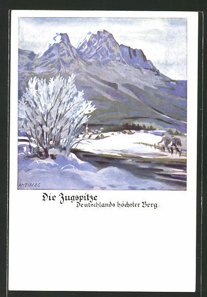 Künstler-AK Otto Amtsberg: Zugspitze im Winter