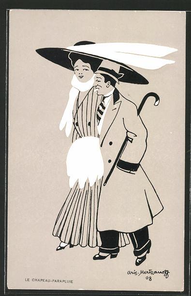 Künstler-AK sign. A. Mertzanoff: Le Chapeau-Parapluie, Dame beschirmt ihren Mann mit ihrer Hutkrempe