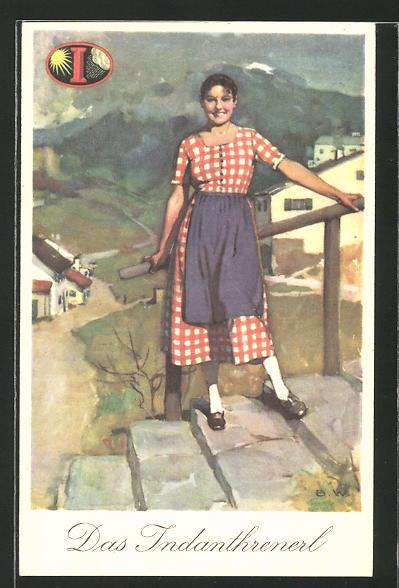 Künstler-AK Reklame für indanthrenfarbige Kleidung,