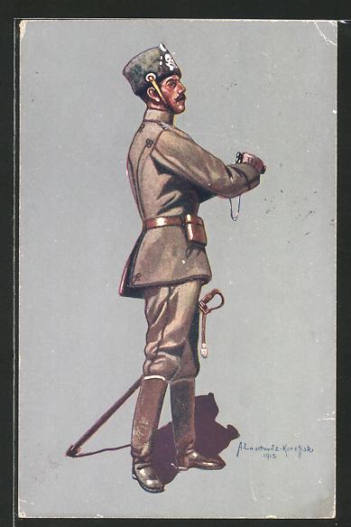 Künstler-AK Stabsoffizier des 1. Leib-Husaren-Regiments Nr. 1 in Uniform