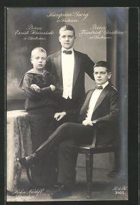 Foto-AK Walter Hahn, Nachfolger: Prinz Ernst Heinrich, Kronprinz Georg und Prinz Friedrich Christian von Sachsen