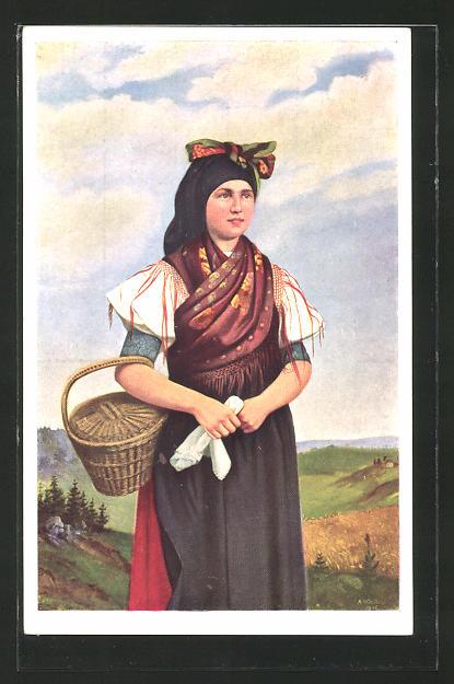 Künstler-AK Bäuerin aus dem Egerlande in Tracht
