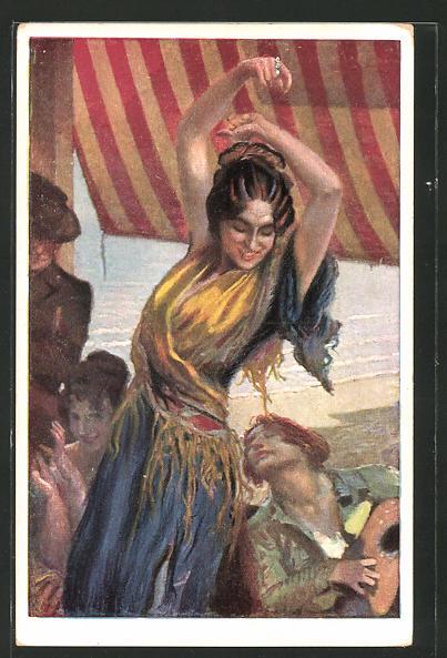 Künstler-AK Leopold Schmutzler: Spanische Tänzerin
