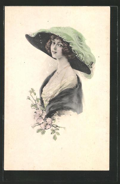 Künstler-AK Schilbach: Portrait einer Frau mit grossem Hut