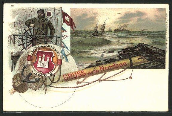 Lithographie Fischer am Steuerrad, Schiffe auf der Nordsee, Fischerei