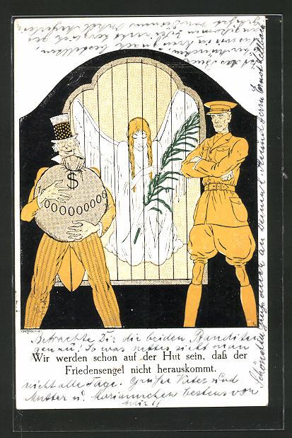 AK Soldat & Mann mit Geldsack passen auf den Friedensengel auf, Propaganda 1. Weltkrieg, Friedensbewegung