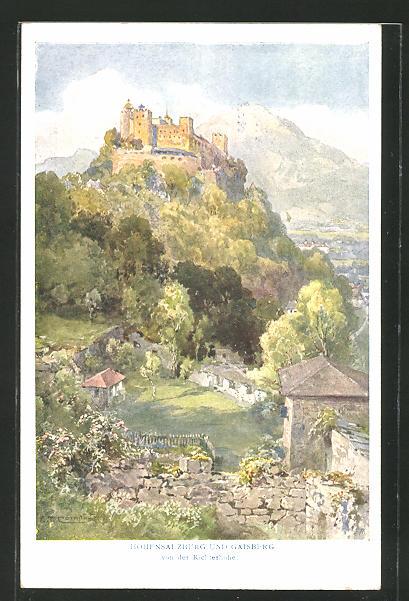 Künstler-AK Edward Theodore Compton: Hohensalzburg und Gaisberg von der Richterhöhe