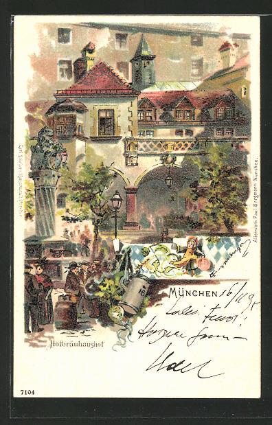Künstler-AK Theodor Guggenberger: München, Partie am Hofbräuhaus