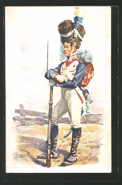 Künstler-AK Angelo Jank: Hundertjahrfeier des K. B. Infanterie-Leibregiments, historische Uniform, Bajonett 0