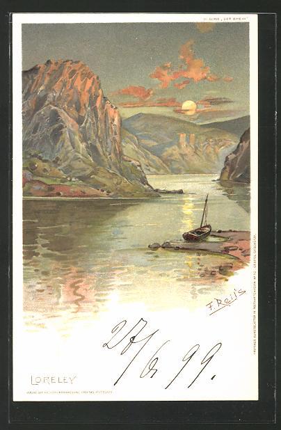 Künstler-AK Fritz Reiss: Loreley im Vollmondschein mit Ufer