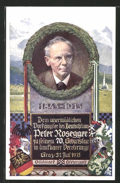 Künstler-AK Richard Assmann: Gedenkkarte Peter Rosegger
