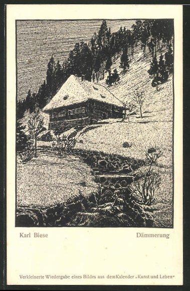 Künstler-AK Carl Biese: Dämmerung mit Berghaus