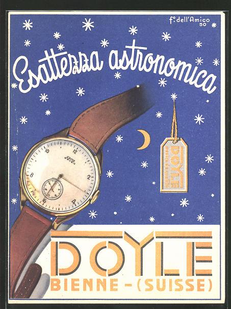 AK Bienne, Reklame für Doyle-Uhren,