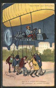 Künstler-AK Heimfahrt vom Bräuhaus mit Hilfe eines Zeppelins