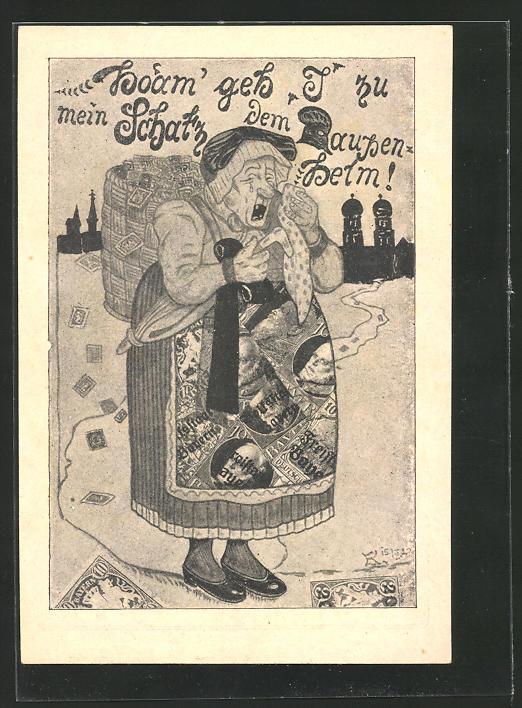 Künstler-AK Humoristische Abschiedspostkarte der bayerischen Briefmarken