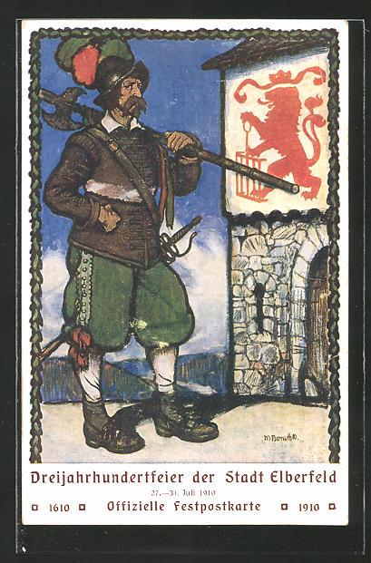 AK Elberfeld, 300-Jahrfeier 1910, Ritter mit Hellebarde