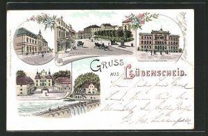 Lithographie Lüdenscheid, Post, Schloss Nauenhof, Wilhelmstrasse mit Rathaus, Realschule