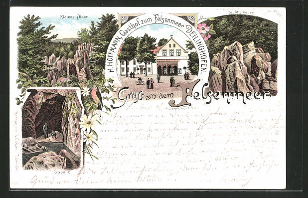 Lithographie Deilinghofen, Gasthof zum Felsenmeer, Bes. H. Hoffmann, Kleines Meer, Teufelsmauer, Capelle
