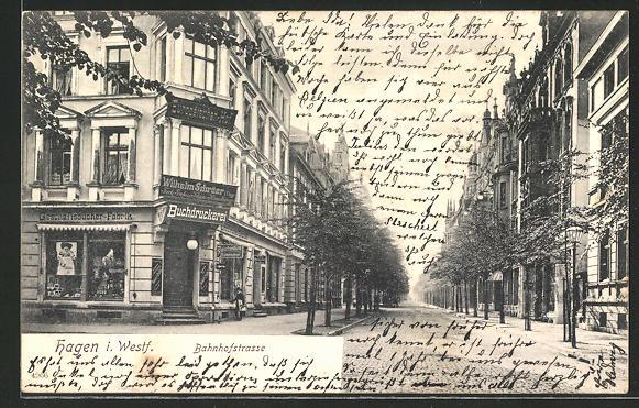 AK Hagen i. W., Buchdruckerei Wilhelm Schräer in der Bahnhofstrasse