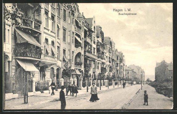 AK Hagen i. W., Strassenpartie in der Buscheystrasse