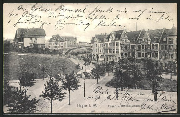 AK Hagen i. W., Blick in die Fleyer- und Kreishausstrasse