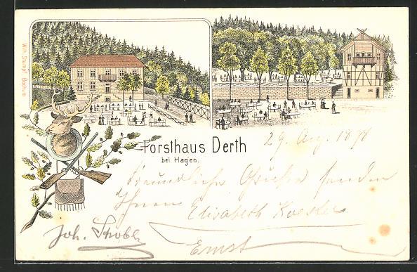 Lithographie Hagen, Restaurant Forsthaus Derth