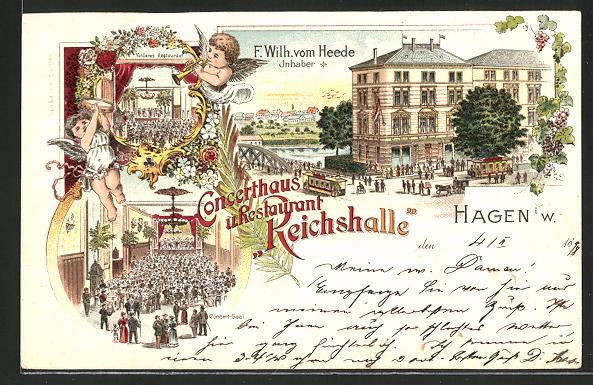 Lithographie Hagen i. W., Concerthaus & Restaurant