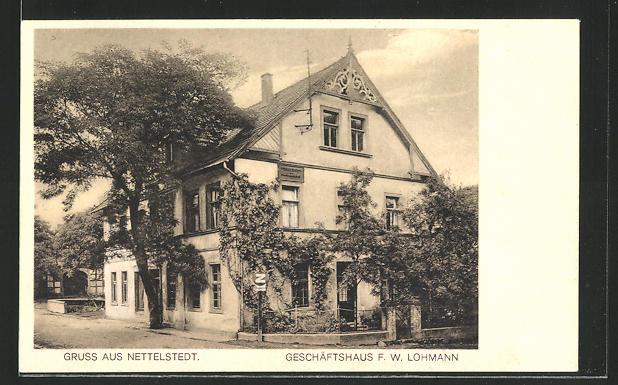 AK Nettelstedt, Partie am Geschäftshaus F. W. Lohmann