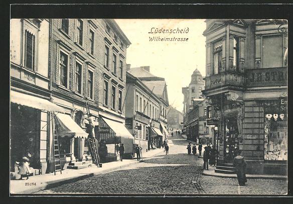 AK Lüdenscheid, Hotel-Restaurant & weitere Geschäfte in der Wilhelmstrasse