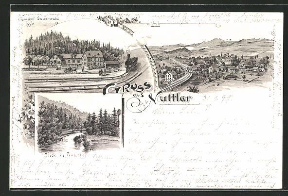 Lithographie Nuttlar, Gasthof Sauerwald, Blick ins Ruhrtal, Ortsansicht aus der Vogelschau