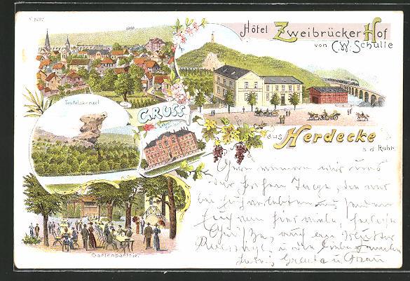 AK Herdecke a. d. R., Hotel Zweibrücker Hof v. C. W. Schulte, Gartenparthie, Teufelskanzel, Lehrer-Seminar, Teilansicht
