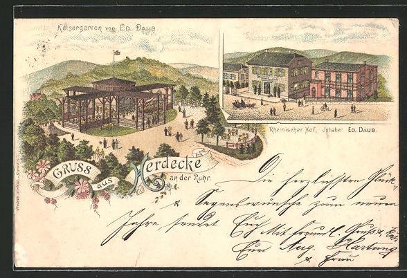 Lithographie Herdecke a. d. R., Kaisergarten & Rheinischer Hof von Ed. Daub