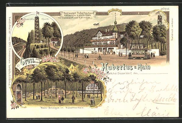 Lithographie Rath, Restaurant Hubertus-Hain, Aussichtsturm, Wald-Anlagen