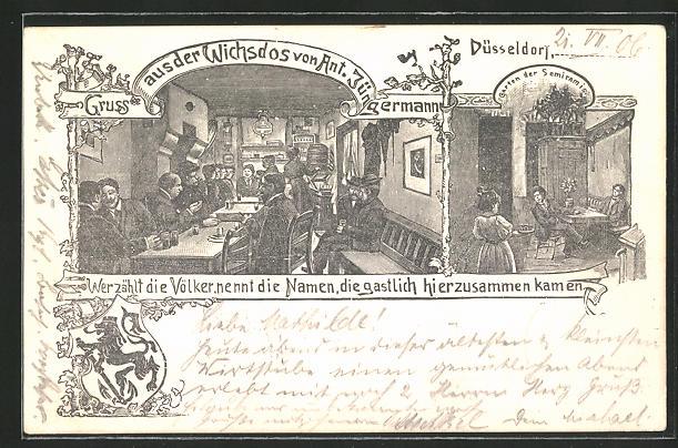 AK Düsseldorf, Restaurant Wichsdos, Bes. Ant. Jüngermann, Innenansichten