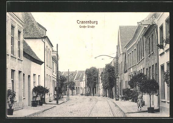 AK Cranenburg, Mädchen am Strassenrand der Grosse-Strasse