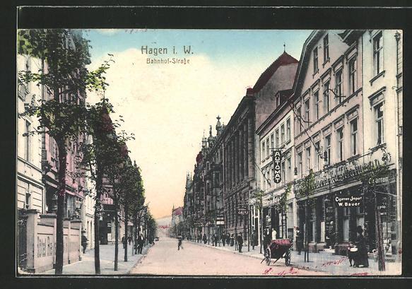 AK Hagen, Cigarren-Import Geschäft in der Bahnhof-Strasse