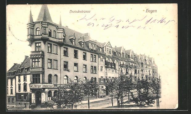 AK Hagen, Gasthaus Carl Röttger in der Dreieckstrasse