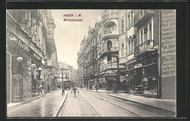 AK Hagen i. W., Geschäfte in der Mittelstrasse